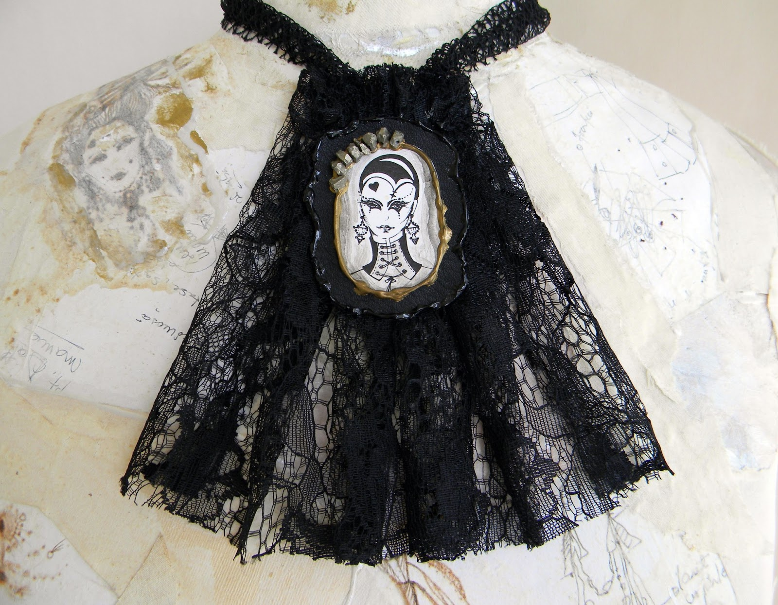 Gothic Lolita Inspired Jabot Necklace Original Design by Lavart