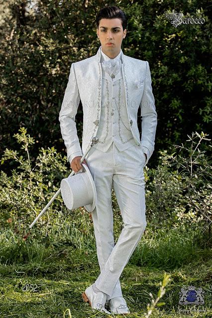 Barocker Brautigam Anzug Vintage Mao Kragen Gehrock In Weissem