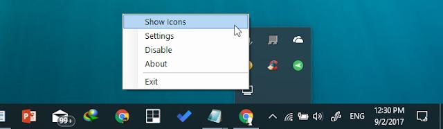 klik ganda sembunyikan desktop