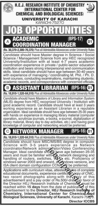Advertisement for HEJ Karachi University Jobs 2018