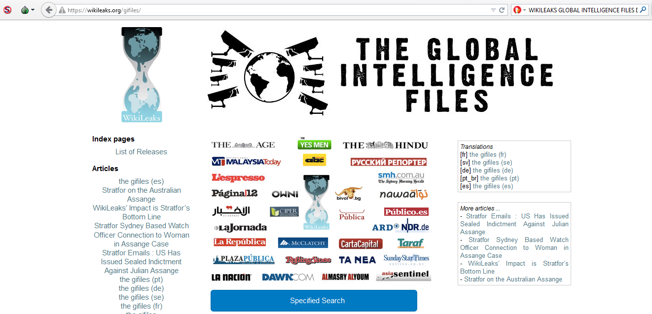 Josh Wieder, Wikileaks, Global Intelligence Files