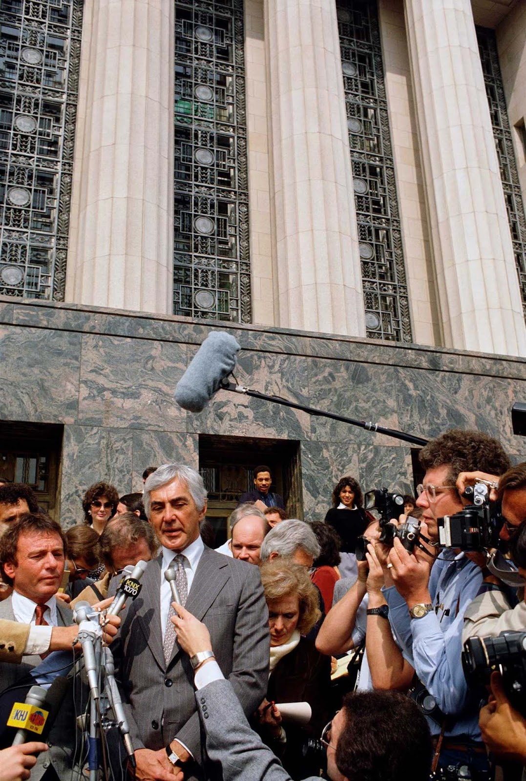 DeLorean outside the Los Angeles courtroom during his trial for a drug dealing charge. 1984.