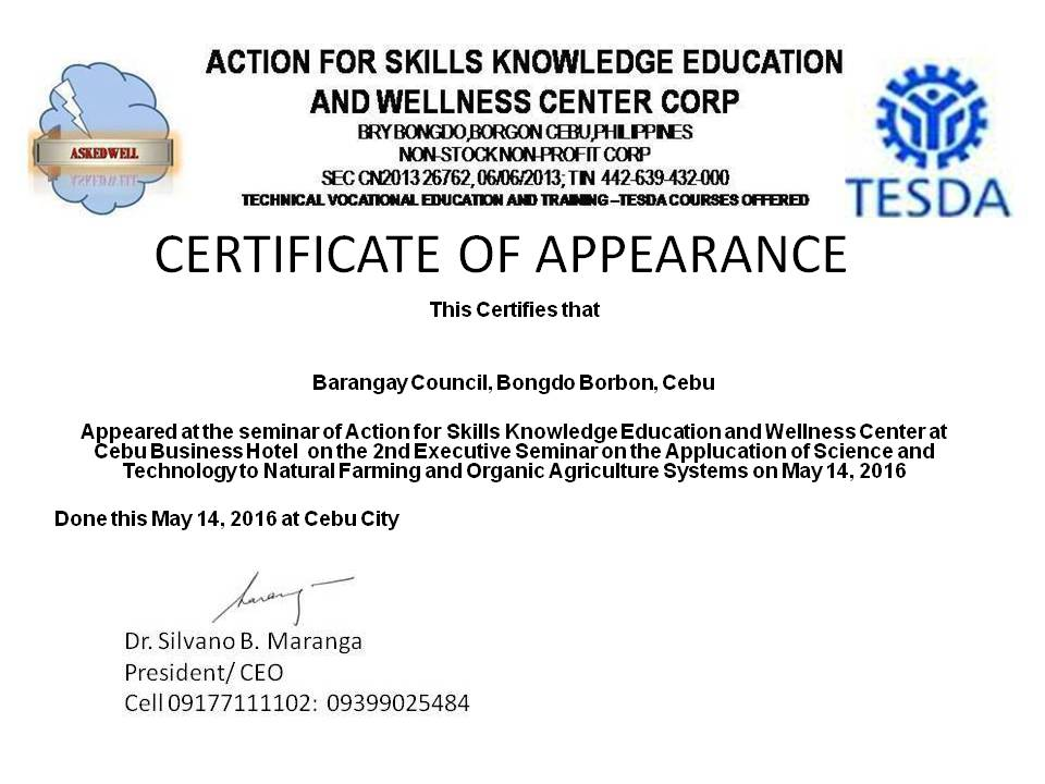 Askedwell in 2016 start of a new journey for Certificate of appearance template