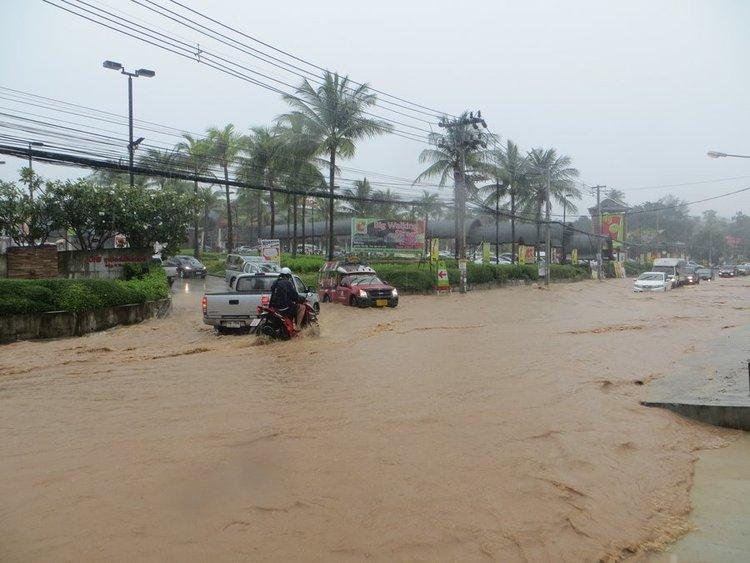 Вода на дороге после дождя