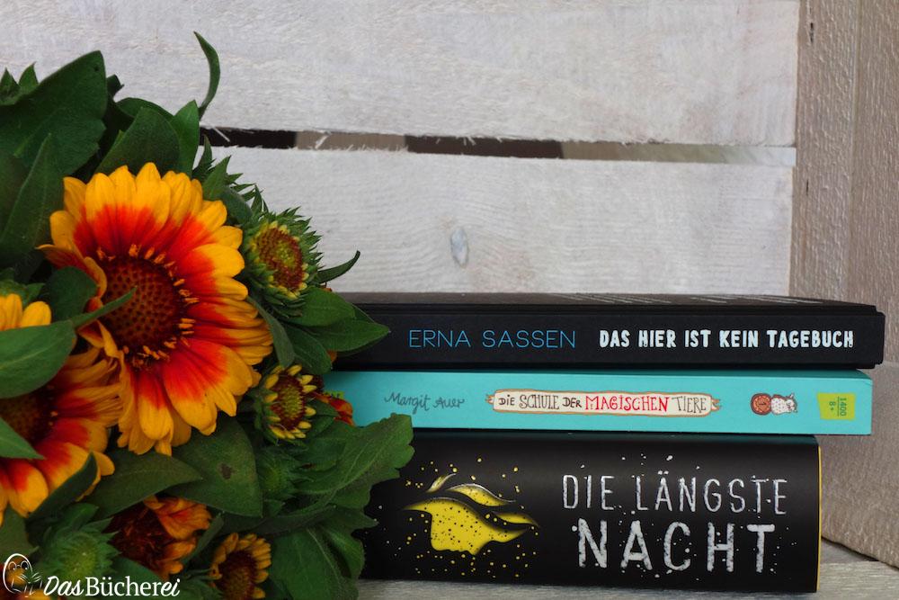 Neue Bücher: Erna Sassen: Das hier ist kein Tagebuch (Verlag Freies Geistesleben); Margit Auer: Die Schule der magischen Tiere (Carlsen Verlag); Isabel Abedi: Die längste Nacht (Arena Verlag)