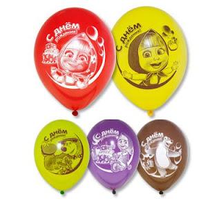 воздушный шарик с машей и медведь с днем рождения
