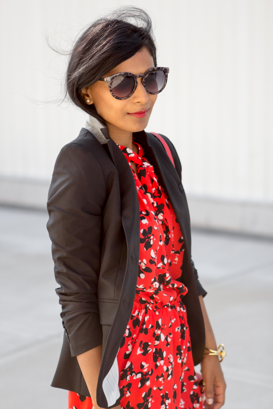 work outfit, work style, office style, little red dress, pullover, tieneck, floral, summer style, petite fashion, work to drinks, banana republic, versatile, blazer, red bag, tortoiseshell sunglasses, trendy, affordable style, personal stylist, boston style