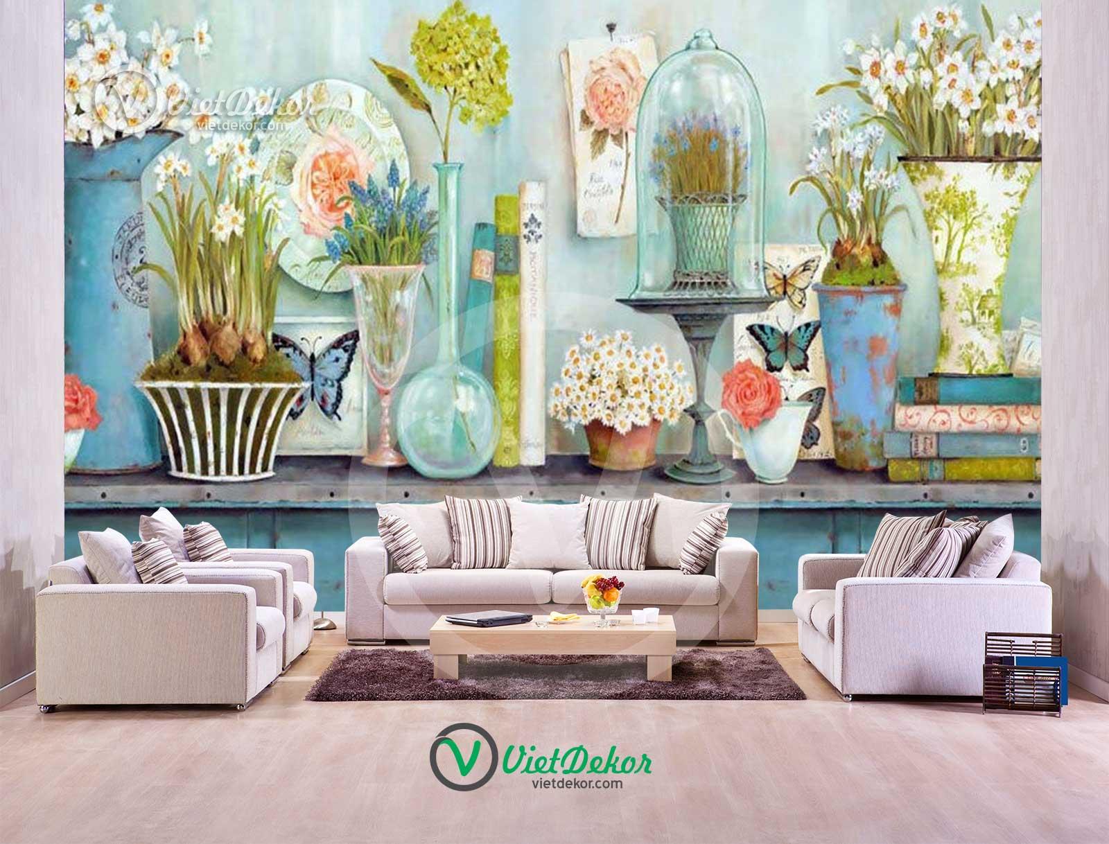 Tranh dán tường 3d  hoa bướm tranh quán