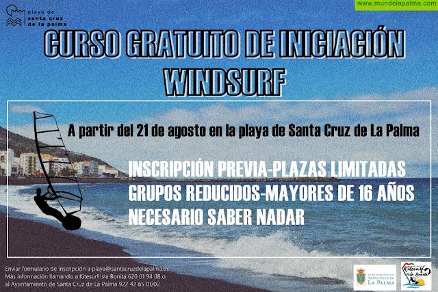 El Ayuntamiento de Santa Cruz de La Palma pondrá en marcha un curso gratuito de windsurf para mayores de 16 años en grupos reducidos