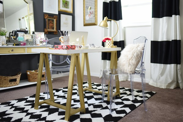 This home office is curated entirely with up cycled, Walmart and other inexpensive furniture/accessories. Functional, beautiful and attainable.
