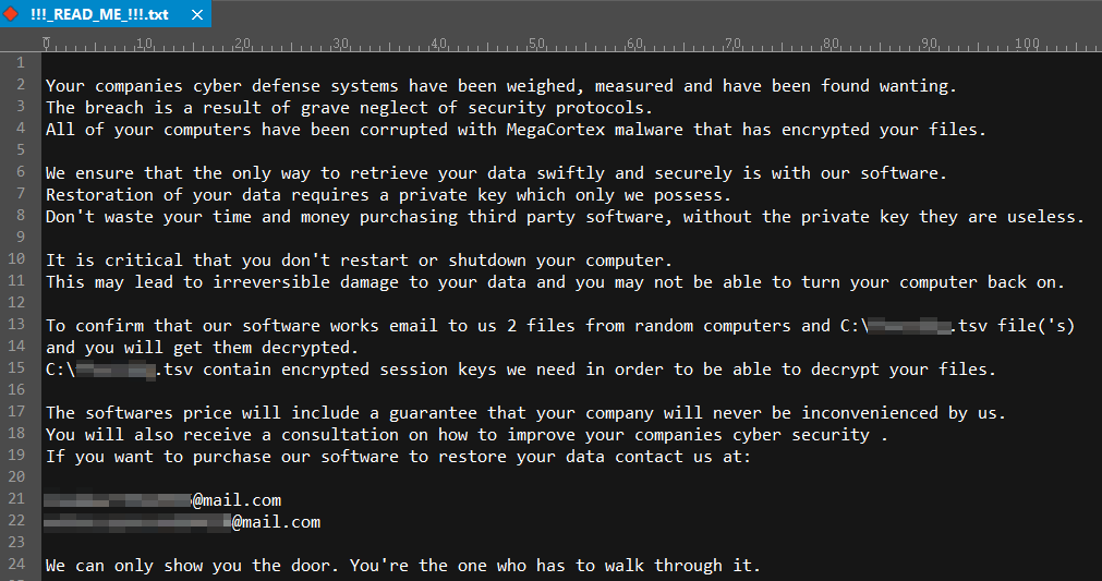 - megacortex ransom note - New MegaCortex Ransomware Attack on Number of Enterprise Networks