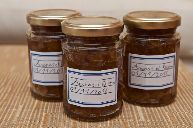 Confiture ananas rhum - Jam pineapple rum - Dessert - food - home-made pineapple jam - breakfast - cuisine - cooking - Rhum - Ananas