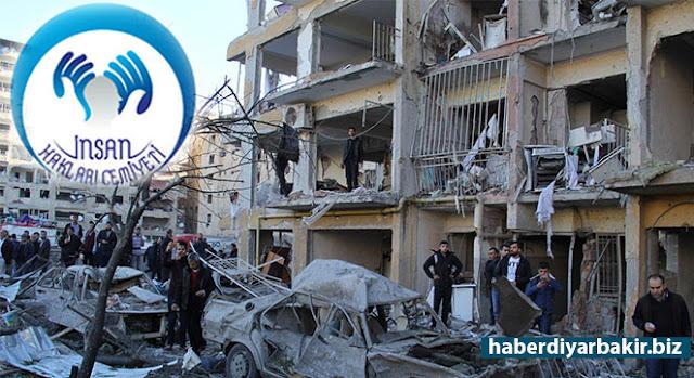 """DİYARBAKIR-Diyarbakır'da yaşanan ve 11 kişinin hayatını kaybettiği, 378 kişinin de yaralandı PKK'nin bombalı araç saldırısı nedeniyle İnsan Hakları Cemiyeti Genel Merkezi tarafından bir açıklama yapıldı. Açıklamada, """"Kaosu hedefleyen hiçbir eyleme tolerans göstermemek, sesimizi yükseltmekle yükümlüyüz"""" mesajı verildi."""