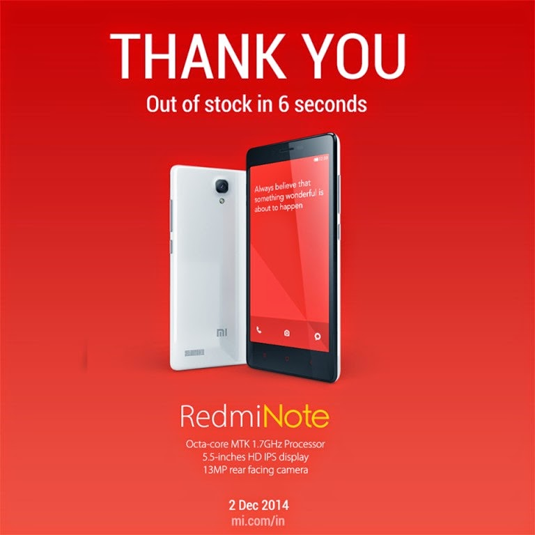 Xiaomi Redmi Note out of stock in 06 Seconds in First sale | MobileTalkNews