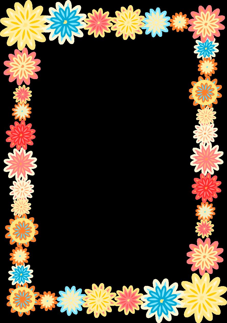 free digital scrapbooking flower frames  colorful flower