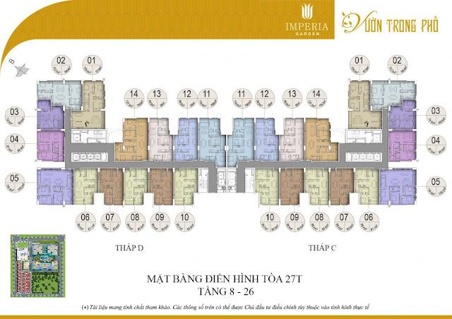 Mặt bằng căn hộ từ tầng 8 đến tầng 27