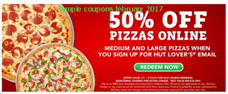 free Pizza Hut coupons for february 2017