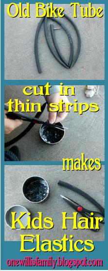 Life hack repurposed bike tube into kids hair elastics