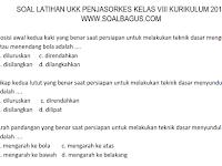 Soal UKK/ UAS Penjasorkes Kelas 8 SMP/ MTs Semester 2 Kurikulum 2013