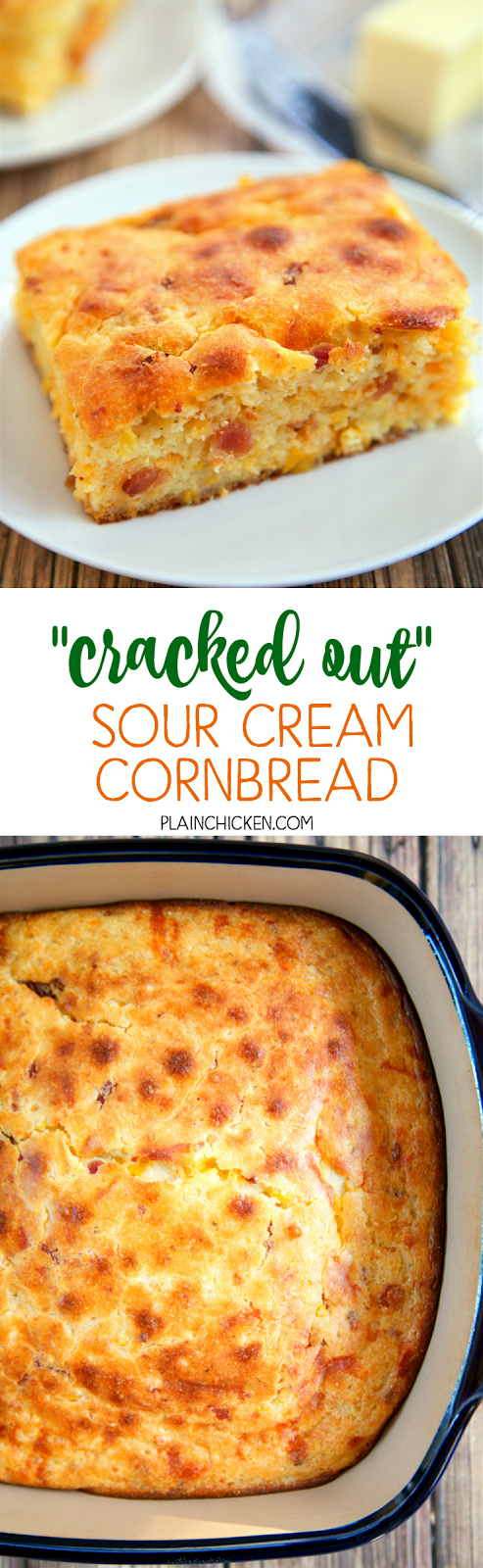 Sour Cream Cornbread - quick cornbread recipe kicked up with cheddar ...