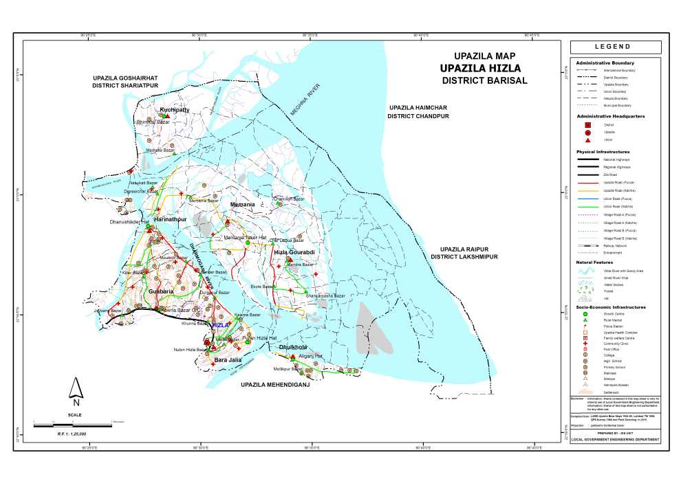 Hizla Upazila Map Barisal District Bangladesh