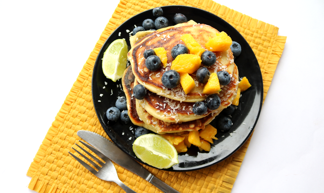 Mango, Blueberries & Coconut Buttermilk Pancakes (Vegetarian recipe)
