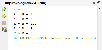 Output Operator Aritmatika Pada Java