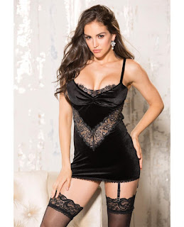 Holiday Stretch Velvet and Lace Chemise