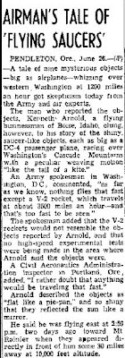 Experts Scoff at the Tale of 'Flying Saucers' Oakland Ribune 6-26-1947