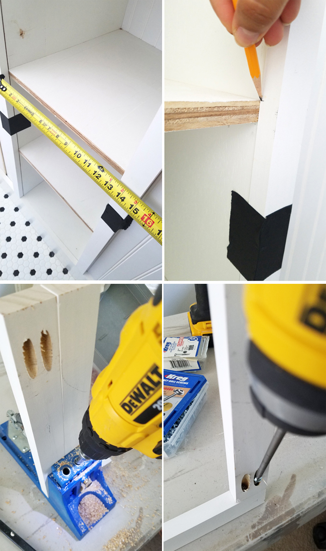Using the Kreg jig and DeWalt drill to build faceframes for shelves in bath