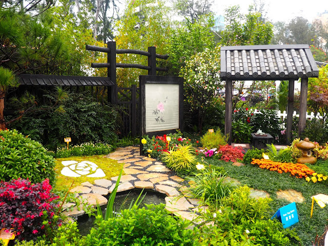 Chinese garden display at Hong Kong Flower Festival 2017
