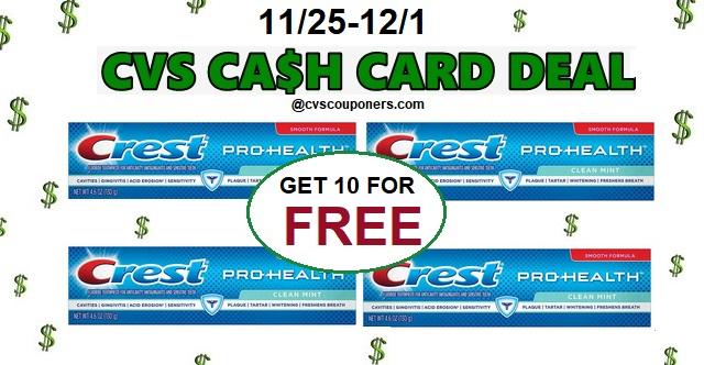 http://www.cvscouponers.com/2018/11/CVS-10-FREE-Crest-Toothpaste-1125-121.html
