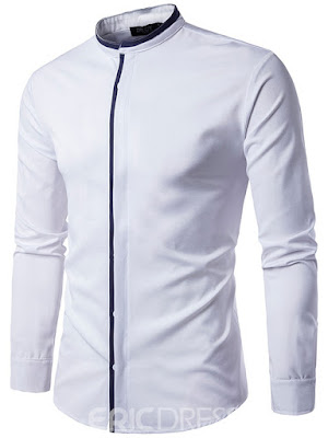 Patched Long Sleeve Stand Men's Shirt