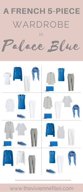 A French 5-Piece Wardrobe in Palace Blue (with grey and white)