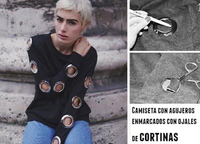 Camiseta con agujeros enmarcados con ojales de cortinas
