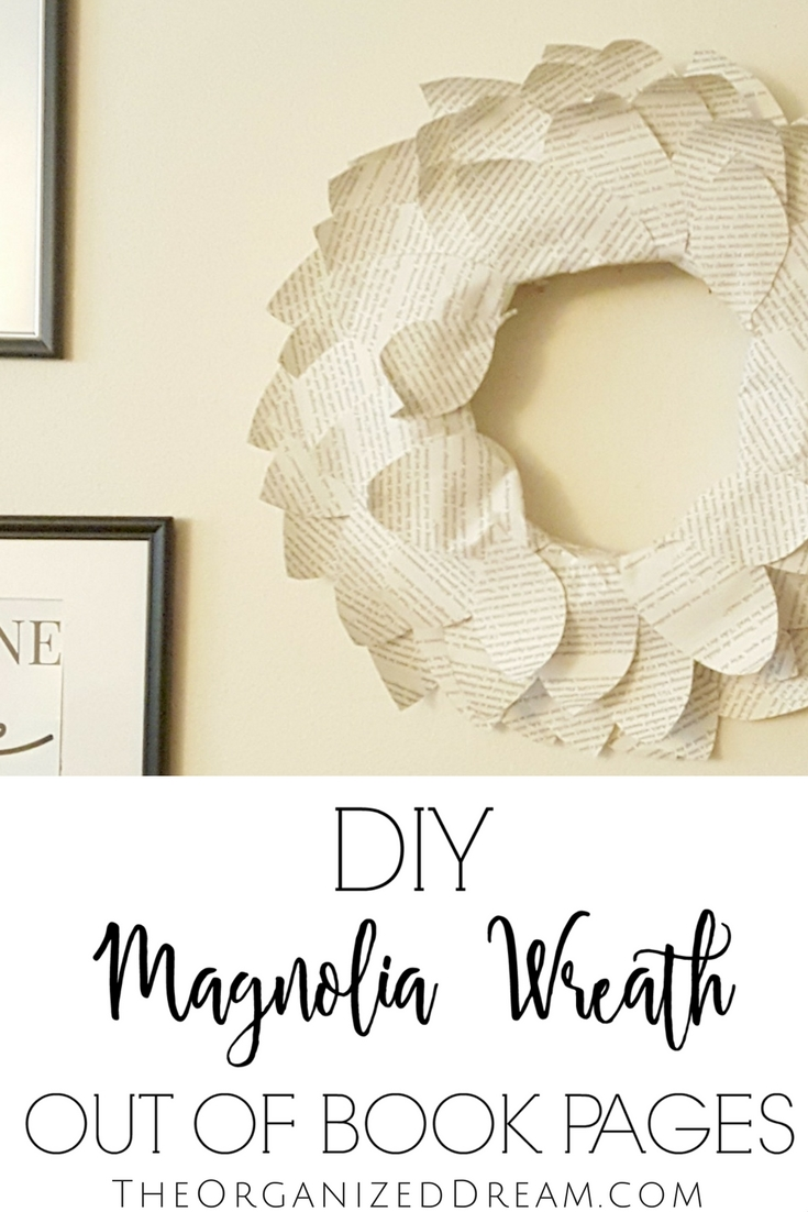 DIY Magnolia leaf wreath made from book pages.