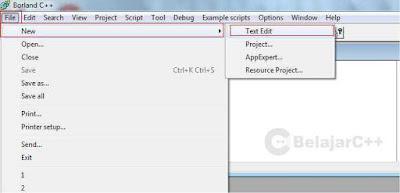 new file atau membuat file editor - Pengertian dan Dasar-Dasar Penggunaan Borland C++ - belajar c++