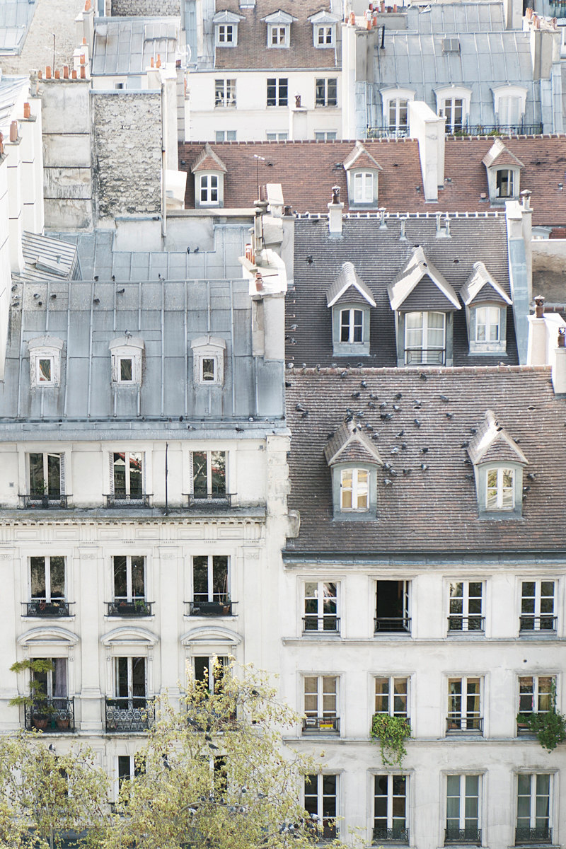 Spring green/white/grey mood board / Photos of Paris & Parisian roof tops via www.fashionedbylove.co.uk