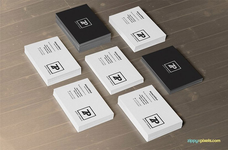Free Business Card Mockups PSD In Stacks