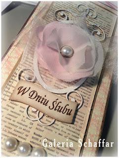 romantyczna kartka ślubna schabby w dniu ślubu pastelowe kolory