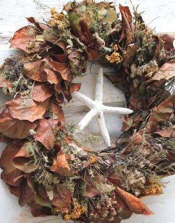 leaf wreath with starfish