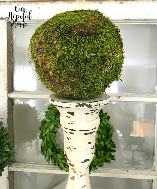 large moss ball decor vintage candlestick