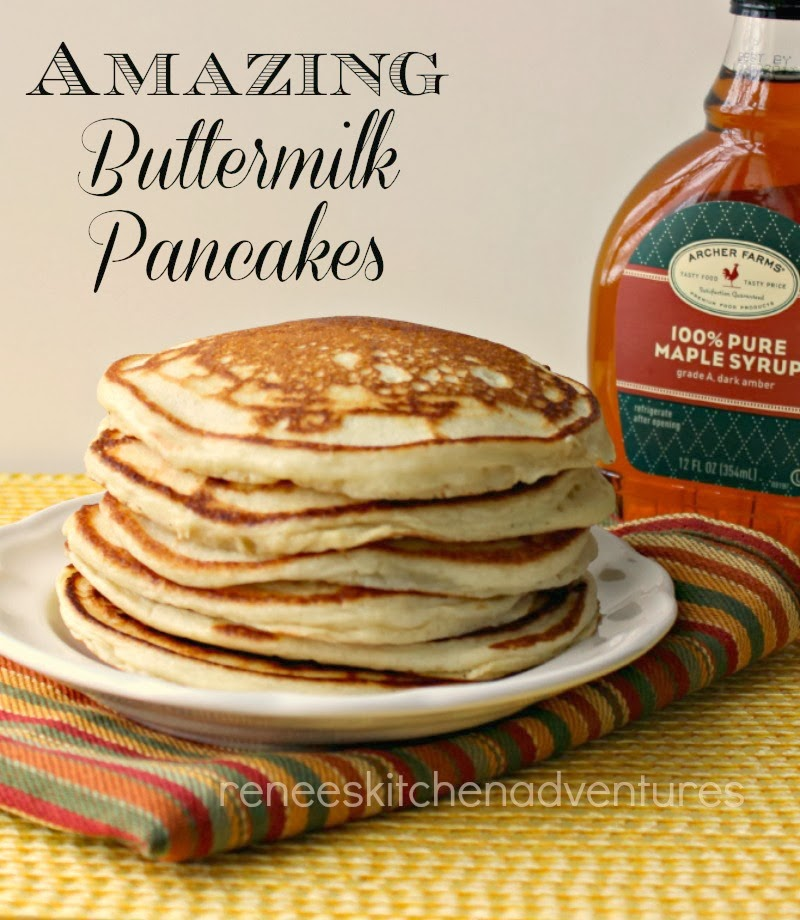 Renee's Kitchen Adventures: Amazing Buttermilk Pancakes.  Good Old fashioned light and fluffy pancakes.