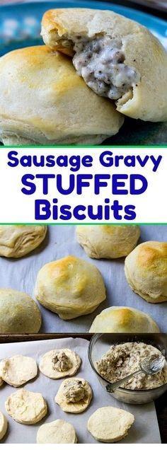 Sausage Gravy Stuffed Biscuits