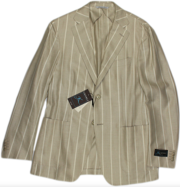 Canali Beige Striped Jacket