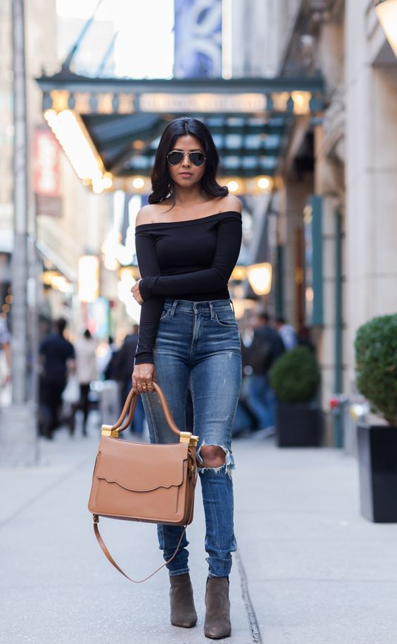 Sheryl Walk In Wonderland - Citizens High Waist Jeans + Black Off Shoulder Top