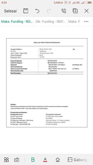 Simulasi hitungan pinjaman kredit dengan jaminan bpkb mobil Chevrolet lova 14 MT  Tahun 2012