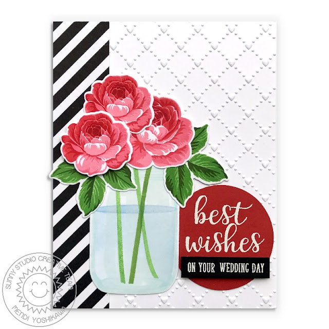 Sunny Studio Stamps: Everything's Rosy Red, Black & White Rose Wedding Card (using Background Basics, Everyday Greetings, Vintage Jar stamps & Quilted Hearts embossing folder