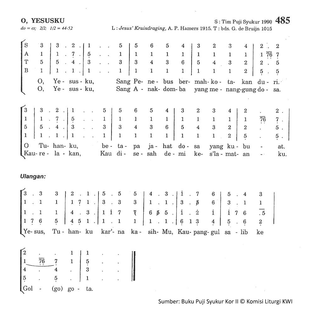 Lirik Dan Chord Lagu O Yesusku
