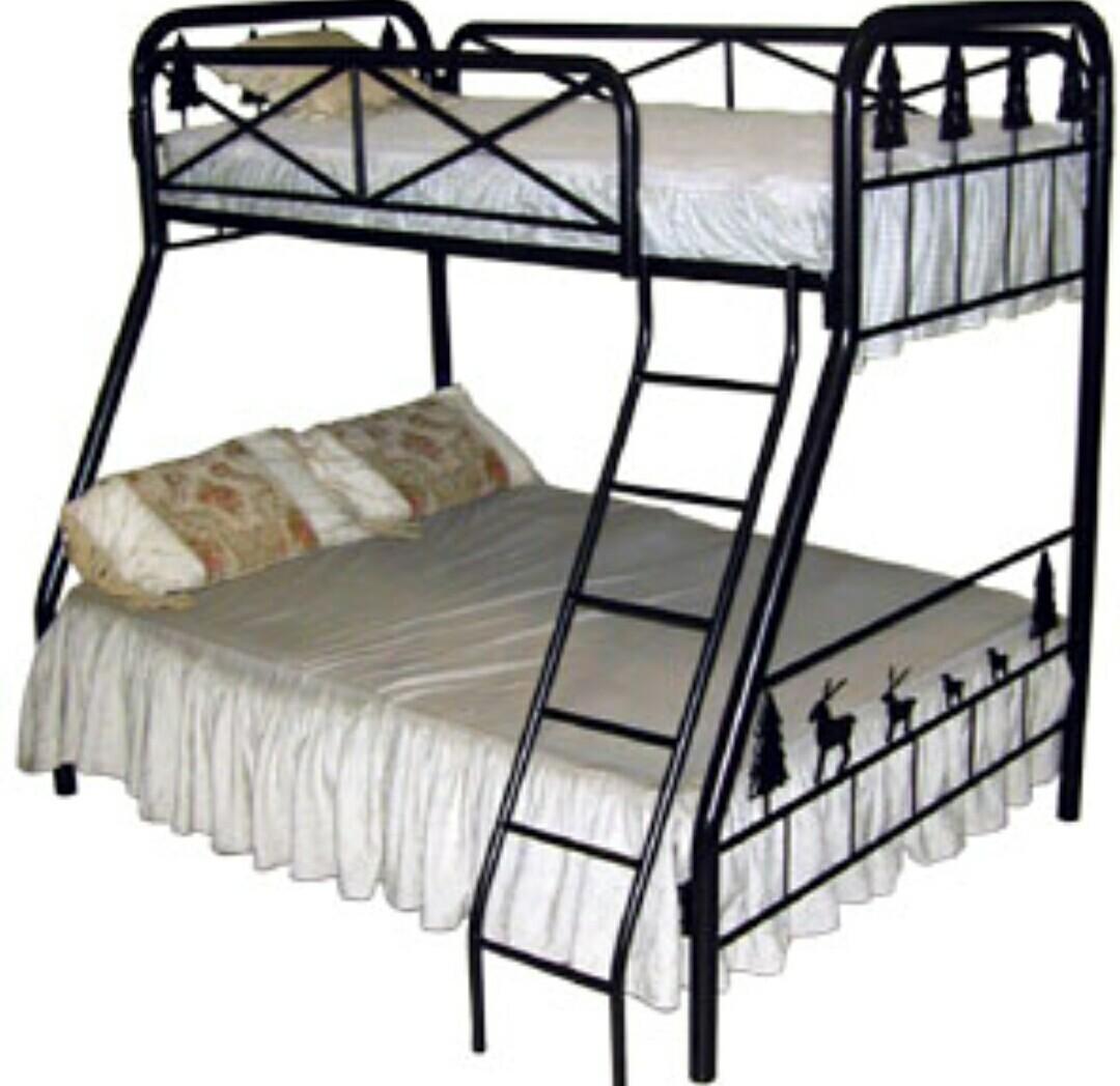 Harga Jual Ranjang Tingkat Besi Desain Tempat Tidur Susun Mbb 03 Silver Dengan Kasur Busa Minimalis